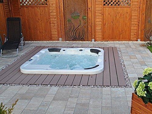 Outdoor Whirlpool Hot Tub Venedig Farbe weiß mit 44 Massage Düsen + Heizung + Ozon Desinfektion + LED Beleuchtung für 5 - 6 Personen für für Garten / Terasse / Außen
