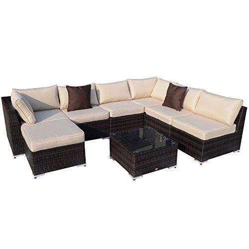 outsunny gartenm bel 25 teilig polyrattan sofa sitzgruppe alu rattan mix inklusive kissen braun. Black Bedroom Furniture Sets. Home Design Ideas