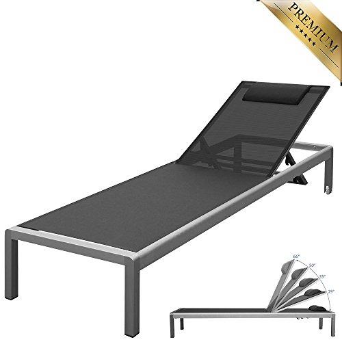 """PREMIUM XXL Aluminium-Liege """"Monaco"""" ca. 160 kg belastbar, mit Räder und Nackenrolle, bestens für den gewerblichen Einsatz geeignet, 5-fach verstellbare Rückenlehne (ganz flach), Alu, rollbar"""