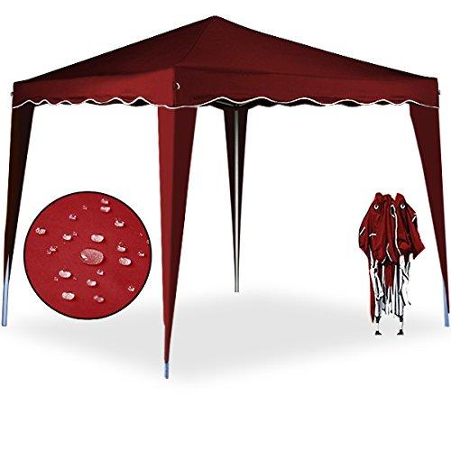 Pavillon Capri 3x3m in Rot - Faltpavillon Gartenzelt Sonnenschutz Popup ✔wasserdicht ✔Farbauswahl ✔Tragetasche