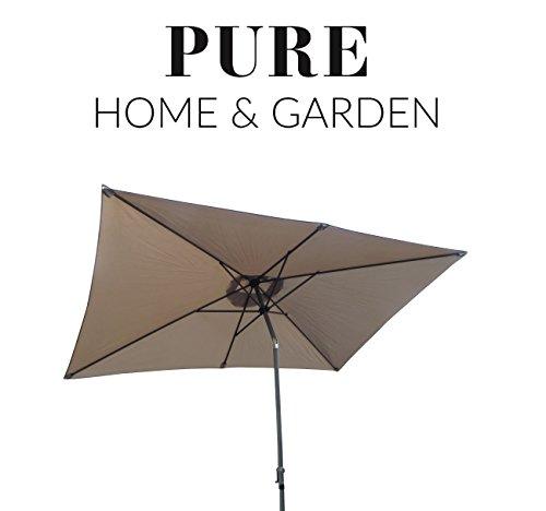 pure home garden kurbelschirm 300 200 taupe mit uv schutz 40 plus knicker und abnehmbarem. Black Bedroom Furniture Sets. Home Design Ideas