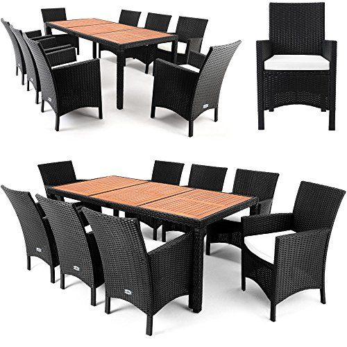 Alu Poly Rattan Sitzgruppe Sitzgarnitur Gartengarnitur Gartenmöbel Holz ✔ 8+1 ✔ Gestell aus wetterbeständigem Alu