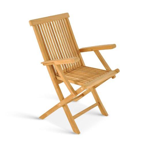 SAM® Garten-Stuhl, Gartenmöbel aus Teak-Holz, Klappstuhl mit Armlehnen, Terrassen-Stuhl aus Holz, Teakholz-Möbel mit geschliffener Oberfläche, Massivholz-Möbel für Garten oder Terrasse [53263253]