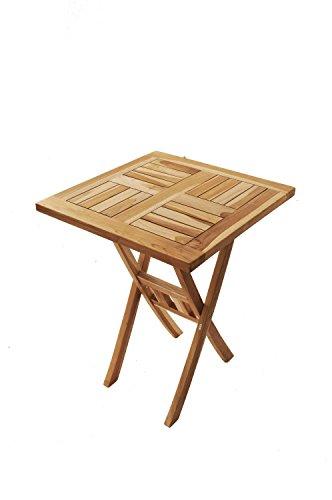 SAM® Teak-Holz Balkontisch, Gartentisch, Holztisch, 60 x 60 cm quadratisch, zusammenklappbar, leicht zu verstauen, geölt, Tisch aus Teak, Massiv-Holz [521331]
