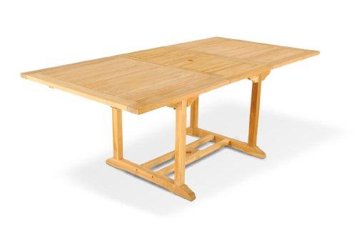 SAM® Teak-Holz Gartentisch, Ausziehtisch, massiver Holztisch bis 200 cm Länge, Platz für die ganze Familie, ideal für Ihren Balkon, Terrasse oder Garten, Gartentisch mit Schirmloch [53260222]