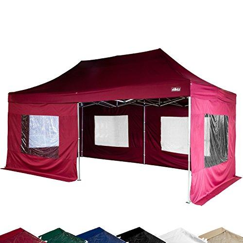 STILISTA® Faltpavillon 3x6m inkl. Seitenteile, WASSERDICHT, versiegelte Nähte, EV1 Voll-Aluminium, Tragetasche