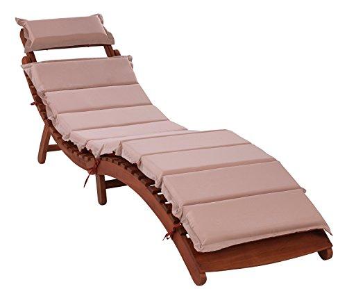 Sonnenliege Gartenliege Holzliege Liege RASSO | Klappbar | aus Eukalyptus Holz | inkl. Auflage | Wetterfest