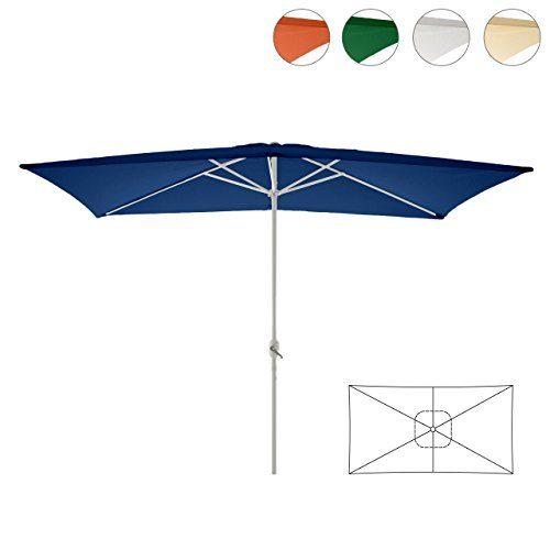 Sonnenschirm eckig mit Kurbel 2x3m Marktschirm Rechteckschirm Sonnenschutz
