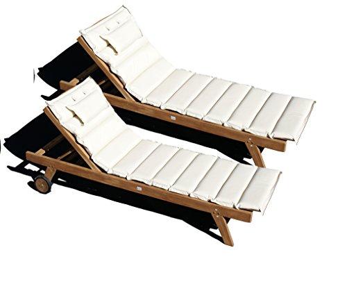 teakholz liege gartenliege sonnenliege 2 st ck auflage creme11 m bel24 gartenm bel. Black Bedroom Furniture Sets. Home Design Ideas