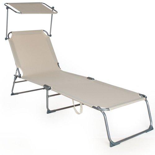 TecTake Faltliege, zum Sonnenbaden, mit Sonnenschirm, Sonnenschutz,verschiedene Farben und Mengen wählbar