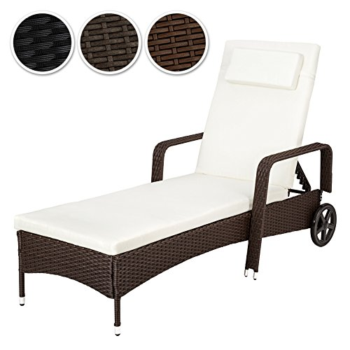 tectake hochwertige aluminium polyrattan sonnenliege gartenliege inkl auflage und kopfkissen. Black Bedroom Furniture Sets. Home Design Ideas