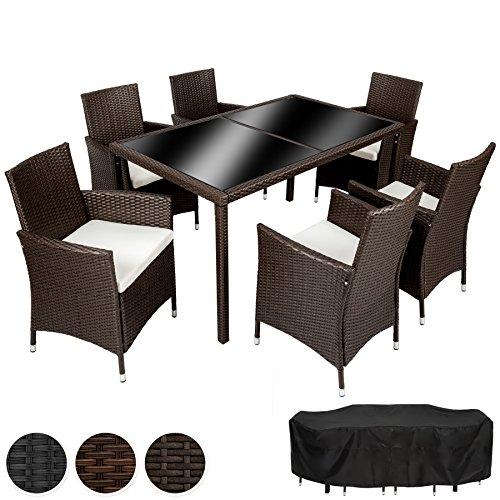 TecTake Hochwertige Poly Rattan Gartenmöbel Essgruppe Sitzgruppe 6+1 | mit Edelstahlschrauben & Regenschutzhaube - diverse Farben -