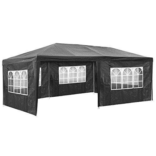 TecTake Pavillon Partyzelt Gartenzelt Eventpavillon | 3x6 m + 5 Seitenteile mit Fenster | Grau