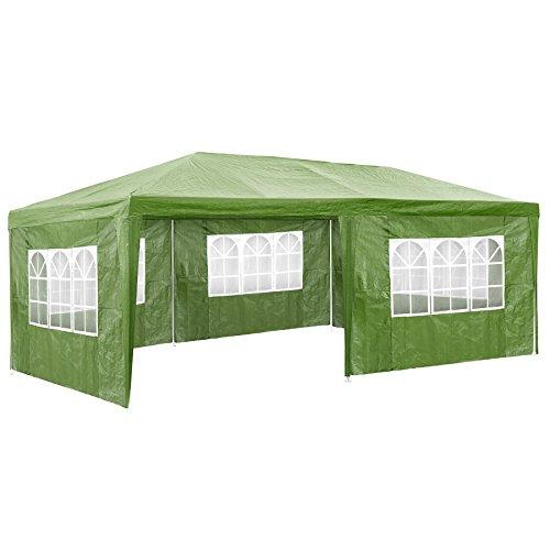 TecTake Pavillon Partyzelt Gartenzelt Eventpavillon | 3x6 m + 5 Seitenteile mit Fenster | Grün