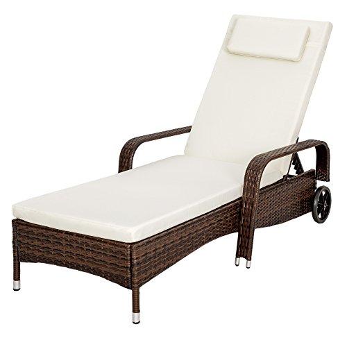 tectake polyrattan sonnenliege gartenliege rattan garten liege gartenm bel rattanm bel braun. Black Bedroom Furniture Sets. Home Design Ideas