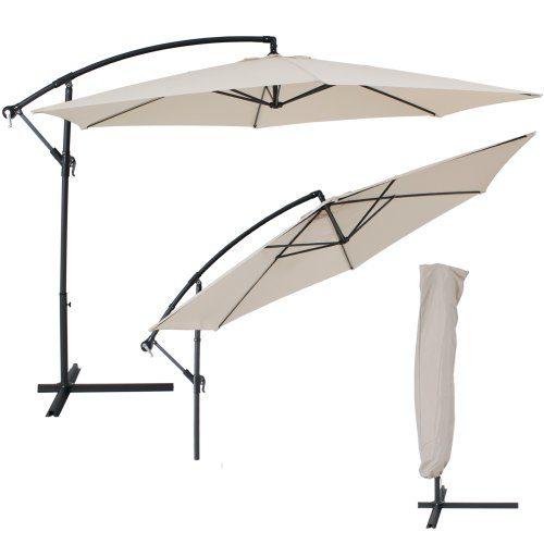 TecTake® Sonnenschirm Ampelschirm mit Metallgestell + UV Schutz 350cm beige + Schutzhülle
