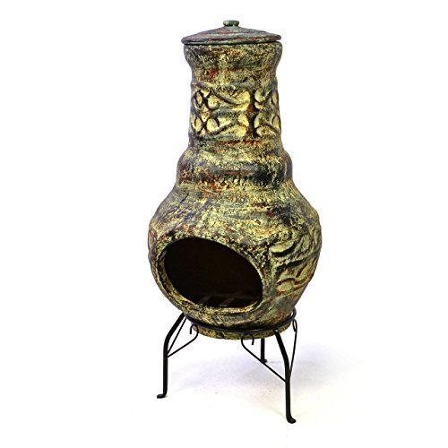 Terrassenofen Gartenkamin Terracotta 73 cm Gartenofen Stahlgestell Feueröffnung 20,5 x 13 cm robust 15 kg Abdeckung