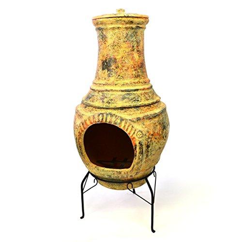 Terrassenofen Gartenkamin Terracotta 92 cm Gartenofen Stahlgestell Feueröffnung 20 x 19 cm robust 18 kg