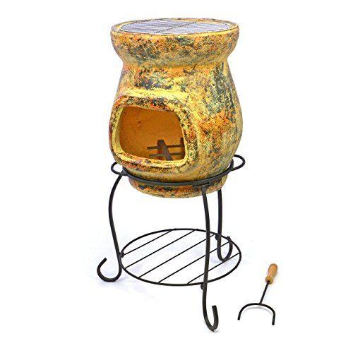 Terrassenofen mit Grill Gartenkamin Terracotta 80 cm Gartenofen Stahlgestell Grillrost 30 cm mit Feuerhaken 20x15 cm Öffnung