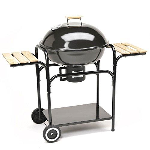 XXL Kugelgrill 57cm Durchmesser Holzkohle-Grill Smoker Standgrill mit Deckel und Holz-Ablagen - große Grillfläche in schwarz