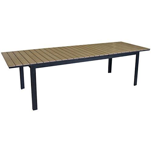 xxl aluminium polywood gartentisch ausziehtisch 280 220x95cm terrassentisch esstisch gartenm bel. Black Bedroom Furniture Sets. Home Design Ideas