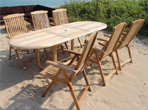 XXS® Möbel Gartenmöbel Set Aruba XL/7tlg sechs praktische Klappstühle Aruba verstellbar Tisch Aruba ausziehbar mit Schirmloch in der Mitte hochwertiges Teak Holz pflegeleicht Lager Speditionsversand