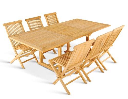 XXS® Möbel Gartenmöbel Set Caracas 7tlg Teak Holz pflegeleicht Holz Tisch Caracas ausziehbar mit Schirmloch sechs Klapptstühle Menorca pflegeleicht Lager Speditionsversand