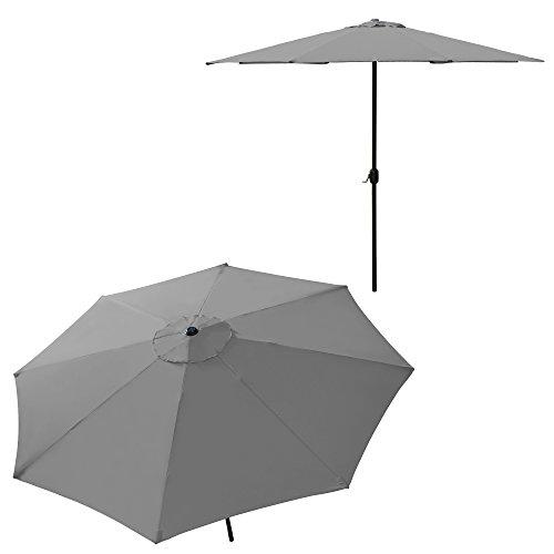 [casa.pro] Sonnenschirm Ø 300cm [grau] mit Kurbel Sonnenschutz Gartenschirm