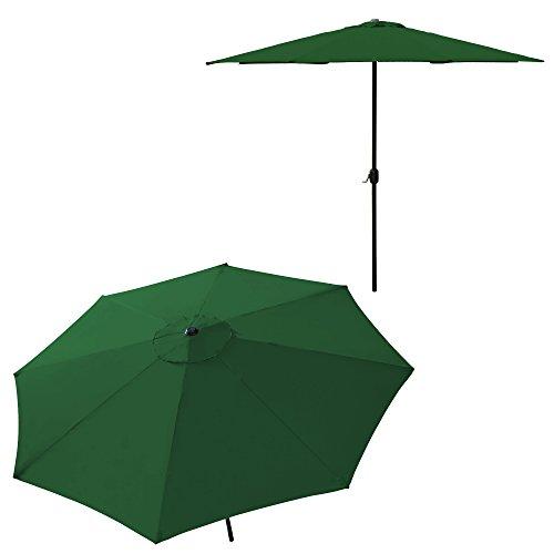 [casa.pro] Sonnenschirm Ø 300cm [grün] mit Kurbel Sonnenschutz Gartenschirm