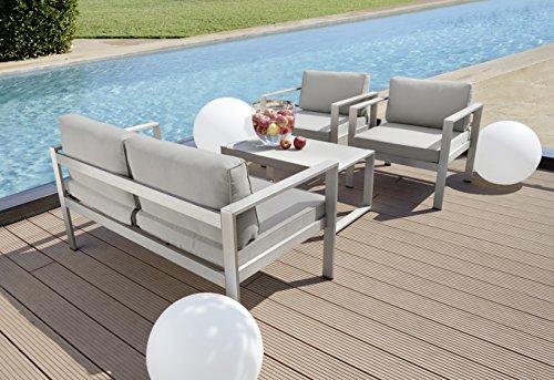 greemotion 123529 Lounge Set San Diego, 4-teilig, 136 x 79 x 70 cm, grau / silber