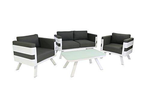greemotion Alu-Gartenlounge St. Tropez, 4-teilig - Gartenmöbel-Set aus Aluminium in Weiß  & Auflagen in Grau - Loungeset für Garten & Terrasse mit 2-Sitzer, 2 Sessel & Lounge-Tisch - Outdoor & Indoor
