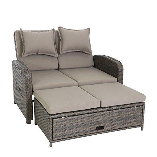 greemotion 3-in-1 Rattan-Gartensofa Bahia Rondo in Braun - 2-Sitzer Lounge-Sofa, Rückenlehne 6-fach verstellbar, Tisch- & Hocker-Funktion & Stauraum - Loungemöbel mit Auflagen - Daybed & Gästebett