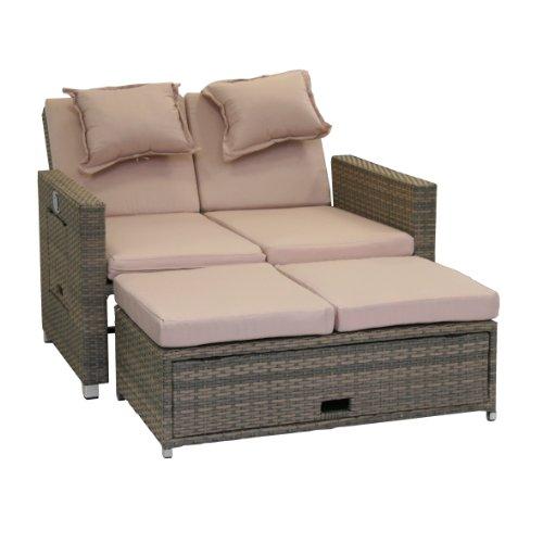 greemotion Bahia Sofa Twin 429106, Love Seat aus Stahl und Polyethylengeflecht, die Rückenlehne ist stufenlos verstellbar, inkl. 8 Nacken- und Sitzkissen, mit Stauraum für die Kissen im Fußteil, die Liege hat 2 Ablagetablets für Getränke, die Maße betragen ca. 121 x 86 x 99 cm