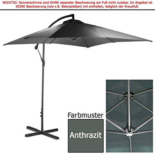 habeig 2 5m ampelschirm anthrazit eckig sonnenschirm kurbelschirm schirm gartenschirm ca 250cm. Black Bedroom Furniture Sets. Home Design Ideas