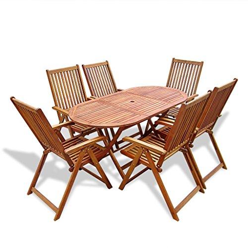 vidaXL Holz 7tlg. Essgruppe Sitzgruppe Sitzgarnitur Tisch Klappstuhl Gartenmöbel Akazie
