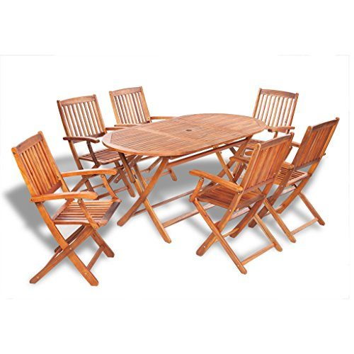 vidaXL 7-tlg. Essgruppe Sitzgruppe Gartenmöbel Set Holzmöbel Sitzgarnitur Akazie Holz