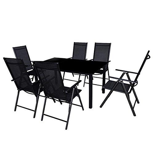 vidaXL 7-tlg. Alu Essgruppe Sitzgruppe Gartenmöbel Gartengarnitur Tisch Stuhl Gartenset