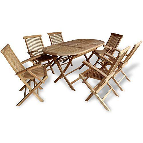 vidaXL Teak 7-tlg. Sitzgruppe Sitzgarnitur Gartenmöbel Holz Essgruppe Tisch Klappstühle