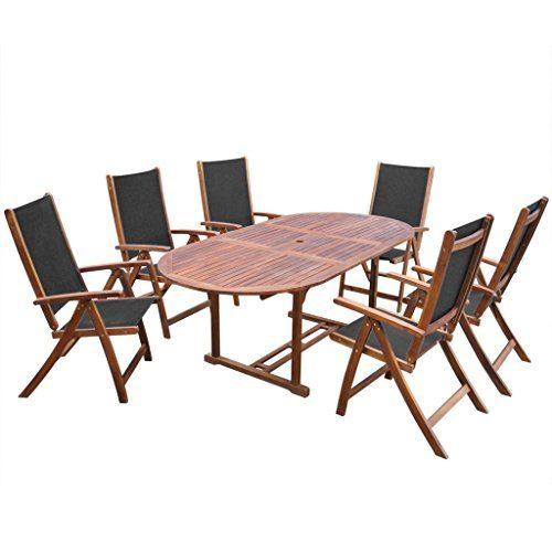 vidaXL 7tlg. Holz Essgruppe Gartenmöbel Sitzgruppe Tisch Klappstuhl Sitzgarnitur Akazie