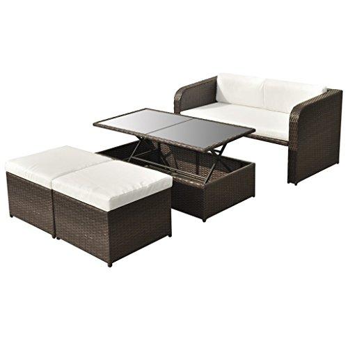 vidaXL 9-tlg. Gartenmöbel Lounge Set Sitzgruppe Garnitur Sofa Set Poly Rattan Braun