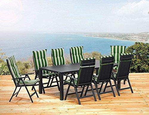 1 gartentisch 220 cm 8 klappsessel 8 auflagen sun garden london set 0 m bel24 gartenm bel. Black Bedroom Furniture Sets. Home Design Ideas
