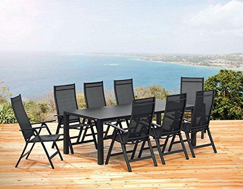 1 gartentisch 220 cm und 8 klappsessel sun garden london. Black Bedroom Furniture Sets. Home Design Ideas