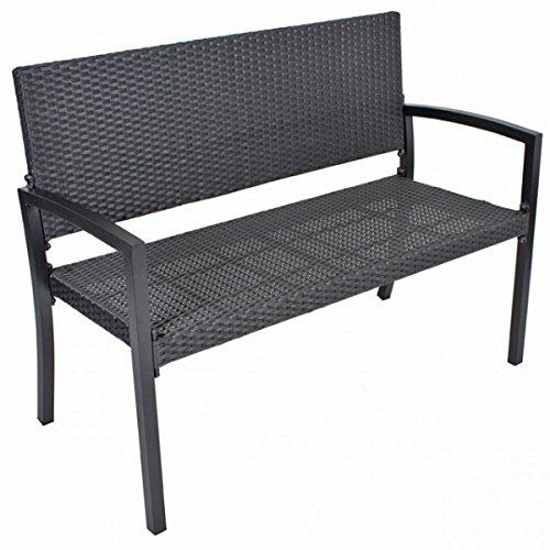2 sitzer parkbank san remo alu kunststoffgeflecht bank gartenbank rattan optik schwarz sitzbank. Black Bedroom Furniture Sets. Home Design Ideas