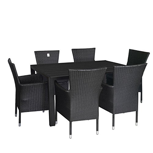7tlg gartengarnitur terrassenmbel set aluminium polywood tisch 150x90cm poly rattan sessel. Black Bedroom Furniture Sets. Home Design Ideas