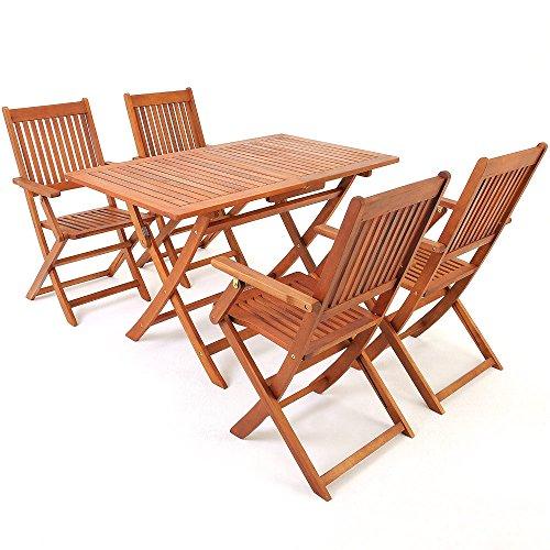 Deuba® Sitzgruppe Sydney 4+1 ✓ Mit 4 Klappbaren Stühlen + Armlehnen ✓ Klappbarer  Tisch ✓ Akazienholz ✓ Sitzgarnitur Gartengarnitur Essgruppe ...