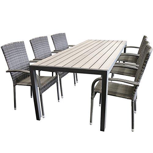 elegante 7tlg gartengarnitur aluminium polywood non wood. Black Bedroom Furniture Sets. Home Design Ideas