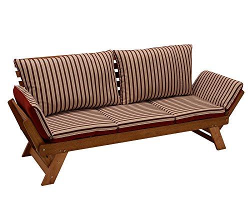 Garten - Liegesofa TIROL 202cm mit klappbaren Seitenlehnen, Eukalyptusholz, mit Wendeauflage rot beige, FSC®-zertifiziert