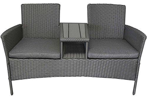 gartenbank grau 140 x 60 x 84 cm kunststoff mit tisch. Black Bedroom Furniture Sets. Home Design Ideas