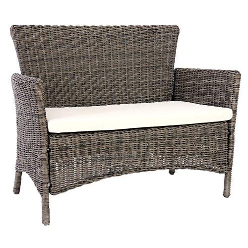 luxus bank sitzbank gartenbank romv poly rattan 113x87x57 cm naturgrau 0 gartenm bel online. Black Bedroom Furniture Sets. Home Design Ideas