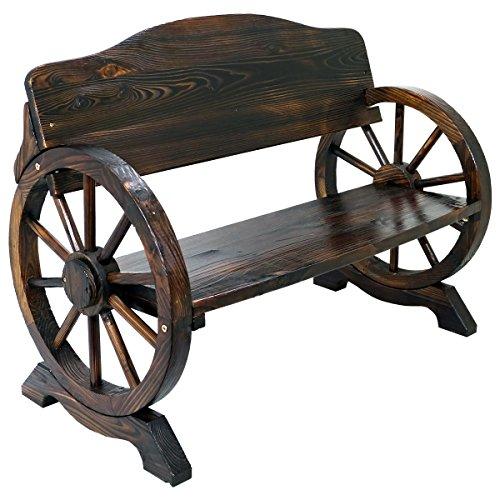 Massivholz Warenkorb Wagon Rad Garden Bench Terrasse Burnt gebeizt Outdoor Möbel